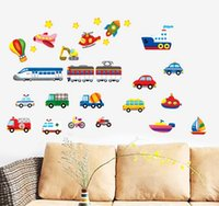 Wholesale Transportation Wall Stickers - Cartoon Cars Trains Ships Boats Balloon Vinyl Wall Decal PVC Home Sticker House Paper Decoration WallPaper Living Room Bedroom Kitchen Art P