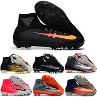 Atacado Cheap Football Shoes Men Mercurial Superfly V FG High Cut Soccer Boots Alta qualidade Hot Sale Sports Shoes Tamanho de transporte livre 39-