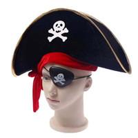 Wholesale Masquerade Hats - Pirate Cap Skull Print Pirate Captain Costume Cap Halloween Masquerade Party Cosplay Hat Prop