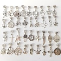Wholesale Cross Bracelets Cheap - 200 Style Mixed Styles 925 Silver Pendant Charms Beads Alloy Charms Pendant Big Hole Beads Fit European Charm Pandora Bracelet Jewelry Cheap