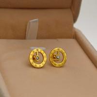 boucles d'oreilles numériques achat en gros de-La ronde de Rome avec des boucles d'oreilles diamant numérique filles coréennes fashion all-match titanium hypoallergenic boucles d'oreilles bijoux en gros