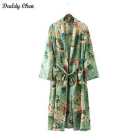Wholesale Elegant Summer Cardigans - Elegant Floral printed kimono blouses shirt women fashion kimono japanese long cardigan Summer bohemian beach belt sashes casual blouses new