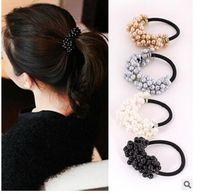 Wholesale Korean Hair Style Girls - 20PC Fashion Korean Style Semi-circle Pearls Beads Hair Rope Girls Hair Accessories Scrunchie Ponytail Elastic Hair Band