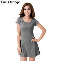 Wholesale Clubbing Girl Korean - Wholesale- 2015 women summer dress New Korean Girl Mini Dress Short Sleeve Candy Color One-piece Slim Basic Dresses vestidos femininos