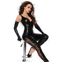 Wholesale Catsuits Hot Sexy - Wholesale- Hot Sexy Lady Black Leather Latex Catsuits 2017 Low Cut with Zipper Open Crotch Elastic Wetlook PU Leotard Bodysuit Bar Clubwear