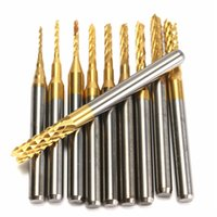 Wholesale Carbide Cnc - 10pcs 0.8-3mm Titanium Coated PCB Drill Bits Carbide Engraving Milling Cutter for CNC Rotary Burrs