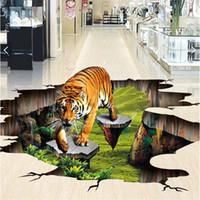 papel pintado mariposa para diseños de paredes al por mayor-Pegatina de pared autoadhesiva al por mayor-Personalizado de foto 3d para pisos 3 d Tigre al aire libre para dibujar murales de pared 3d pintados wallpaper
