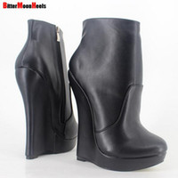 Wholesale Orange Wedge High Heels - Free shipping 2017 Women Fetish Stallion Ankle Boots With Zipper BDSM Platform Runway Rock Star NightClub Shoes Goth Punk Wedges Heeled Boot