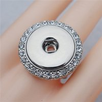 Wholesale Elastic Crystal Ring - Fashion Elastic Adjustable Size Crystal Rhinestone Noosa Chunks Metal Ginger 18mm Snap Buttons Ring Jewelry Wholesale