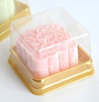 Wholesale Eco Cake Packaging - 100pcs=50sets 6.8*6.8*4 cm Mini Size Clear Plastic Cake boxes Muffin Container Food Gift Packaging Wedding Supplies