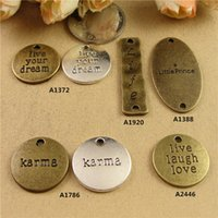 Wholesale Wholesale Karma Jewelry - DIY jewelry accessories wholesale square plate English retro letter connector word charm Live your dream laugh love life karma little prince