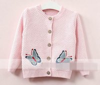 Wholesale Girls Colorful Cardigans - 2017 Autumn New Baby Girl Knitting sweater Colorful butterfly long sleeve Knitting Cardigan Children Clothes 317529