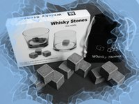 Wholesale Wine Shipping Boxes Wholesale - 100sets natural Whisky stones,9 whiskey stones+1pouch in a box Valentine Father's Day gift with delicate gift box Free shipping