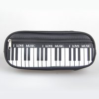 Wholesale Music Pencil Cases - Wholesale- (1Pcs Sell) Piano Style Candy Color I Love Music Pencils Case Canvas School Supplies Bts Stationery Estuches School Pencil Bags