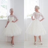 Wholesale Bateau Wedding Gowns - 1950's Style Short Wedding Dresses Bateau Lace Ribbon Cover Button Back Beach Spring Tea Length Bridal Gowns Lace Half Sleeves Ball Gown