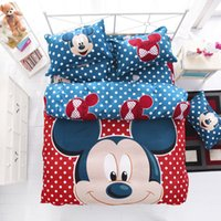 Wholesale Boy Bedding Sports - Wholesale- sporting mickey boys girls bedding set duvet cover bed sheet pillow cases queen full twin size bed linen set