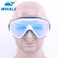 Wholesale Swim Glasses Brand - Wholesale-WHALE Brand Tempered Glass Lens Adult Dive Underwater Diving Face Mask Scuba Snorkel Swimming Goggles For men women