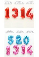 Hot 16 inch number Pink Blue Number Foil Balloons Birthday Party Digit Ballons Décor de mariage Baloons Christmas Holiday