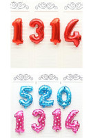 Wholesale Pink Party Ballons - Hot 16 inch number Pink Blue Number Foil Balloons Birthday Party Digit Ballons Wedding Decor Baloons Christmas Holiday
