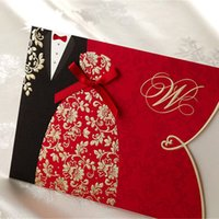 Wholesale Invitation Card Groom Bride - Wholesale-1pcs Sample Red Bride and Groom Laser Cut Wedding Invitations Card Personalized Custom Printable with Envelope & Seals