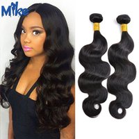 Wholesale Double Wefted Hair - MikeHAIR Peruvian Hair Bundles Body Wave 2 Pieces Cheap Human Hair Weaves Double Wefted 100g Brazilian Malaysian Indian Wavy Hair Extensions