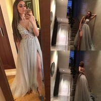 Wholesale paolo sebastian for sale - 2017 Sexy Paolo Sebastian Gray Prom Dresses Deep V Neck Sequins Tulle High Split Long Evening Dress Wear
