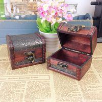 Wholesale Wholesale Decorative Storage Boxes - Vintage Jewelry Box Jewelery Organizer Storage Case Mini Container Decorative Wooden Beauty Boxes Free Shipping ZH153