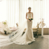 Wholesale Sweetheart Lace Appliqued Wedding - Sexy Mermaid Bodycon Wedding Dresses Real Photos In Stock Robe De Mariage Bridal Dress Lace Appliqued Sheer Neck Bandage Dresses 8395