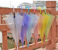 Wholesale Performance Tube - 2017 Transparent Clear Umbrella Dance Performance Long Handle Umbrellas Colorful Beach Umbrella For Men Women Children Kids Umbrellas