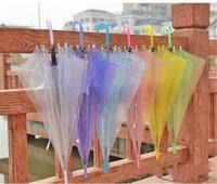 kinder sonnenschirm großhandel-Neue Transparent Klar Regenschirm Dance Performance Langgriff Sonnenschirme Bunte Sonnenschirm Für Männer Frauen Kinder Kinder Sonnenschirme