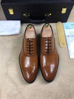 Wholesale Pink Dress Shoes For Men - 2017 Fashion Designer brand Dress shoes platform Oxfords shoes for Mens Custom Handmade Shoes Genuine Leather all series brown