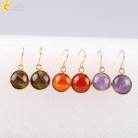 Wholesale Purple Agate Pendant Bead - CSJA Vintage Round Red Agate Gemstone Pendant Onyx Bead Gold Plated Copper Hook Drop Earring Women Holiday Birthday Gift E092
