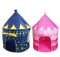 Wholesale Blue Castle Play Tent - Girls and Boys Foldable Game Toy Tents Indoor Princess Palace Castle Outdoor Play Tents Christmas Gifts