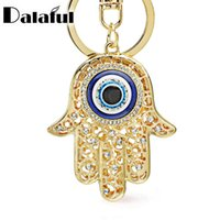 Wholesale Evil Eye Amulets - Lucky Charm Amulet Hamsa Fatima Hand Evil Eye Keychains Purse Bag Buckle Pendant For Car Keyrings key chains holder women K236