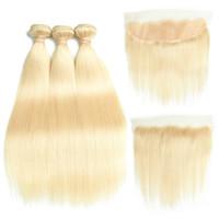 saç teli 613 toptan satış-8a ile Brezilyalı Bakire Saç # 613 Sarışın 3 Demetleri Frontal Kapatma Üst Dantel Frontal ve Demetleri Ipek Düz Saç Demetleri ve Frontal