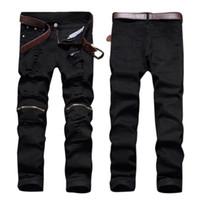 Wholesale Wholesale Mens Skinny Jeans - Wholesale- Black Denim Biker Jeans Mens Skinny 2017 New Runway Distressed Slim Elastic Jeans Men Hip Hop Swag Washed Motorcycle Cargo Pants