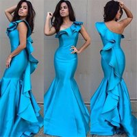 Wholesale Unique Formal Gown Long - Unique One Shoulder Blue Ruffle Satin Mermaid Long Formal Evening Dress 2017 Women Formal Party Gowns