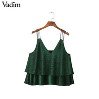 Wholesale Ladies Green Vest Tops Wholesale - Wholesale- women green double ruffles Shiny vest V neck tank top camis sexy sleeveless shirts ladies summer casual slim blusas WT369