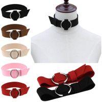 Wholesale Cuff Choker - Metal O Ring Belt Choker Collar Necklace Circle Ring Choker Necklaces Cuffs for Women Fashion Jewelry Drop Shipping