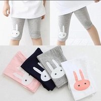 Wholesale Cute Leggings For Toddlers - Girls Leggings Rabbit Printed 100%Cotton Five minutes pants Toddler Summer Leggings Socks Girls Fashion Cute Dress Sock for 2T-6T 008#