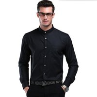 Großhandel-chinesischen Stil Mandarin Kragen weißen Männer Shirt Bräutigam Langarm-Shirt reinen Farbe Qualität Business Casual Interview-Shirt