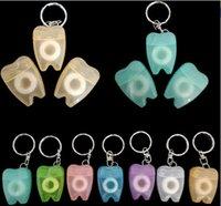 Wholesale Dental Chain - Tooth-shaped Key Chain Portable Dental Floss Flat Line Gums Oral Care Hospital Gift Color Random
