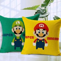 Wholesale Mario Throw - Janpanese Super Mario Brothers Pattern Decorative Linen Cotton Cushions Pillows Covers Pillow Case Sofa Throw Cushion Cover Gift