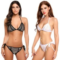 Wholesale new beach clothing ladies online - New Fashion swimwear for women Bandage Push up Bikini Set Striped Swimsuit Stylish Sexy Ladies Clothing Summer Beach Swimming Pool