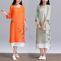 Wholesale Three Quarter Sleeve Ankle Length - Summer Casual Dress Women Three quarter Sleeve vintage Dresses Cotton Plus Size Linen Dress Loose Waist Beach Dress Vestido
