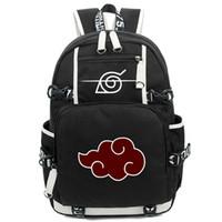 Wholesale cosplay anime school bag - Wholesale- New Arrival Cartoon Naruto Backpack Anime Akatsuki Sharingan Printing Cosplay School Backpacks Laptop Shoulder Bags