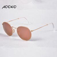 Wholesale uva uvb sunglasses - AOOKO Womens Designer Band Round Metal UVA UVB Sunglasses women Glasses Eyewear matte Gold frame Pink 50mm Glass Mirror Lenses Glamorous