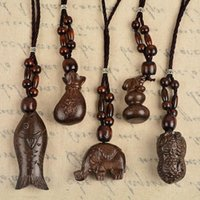 Wholesale Cotton Rope Handmade Necklaces - High quality Original national wind retro handmade wood necklace cotton and linen rope WFN469 (with chain) mix order 20 pieces a lot