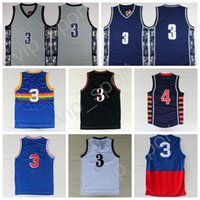 Men black basketball player - Men Allen Iverson Jersey Basketball Georgetown Hoyas Allen Iverson College Jerseys Throwback Red Gray Blue White Black with player name