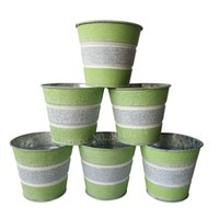 Wholesale Wholesale Powder Coating Supplies - D10XH9CM green Metal garden pot round planter Meat plant pot iron flower tub for Garden Supplies